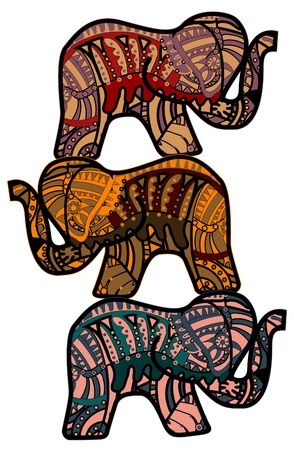 Elephants in the ethnic style are a strong symbol of good luck Vector
