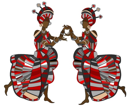 Womans in ethnic style dancing on a white background Vector