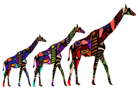 African giraffes in ethnic style consists of various elements Vector