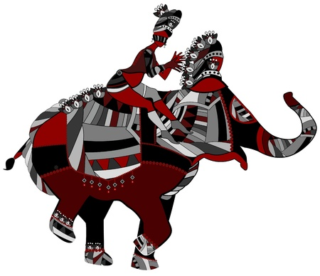 mosaic: people sitting on the back of an elephant in ethnic style