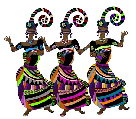Women in ethnic style happy merry carnival