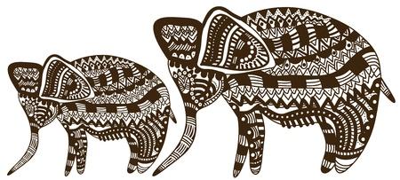 Olifanten in etnichemkom stijl op een witte achtergrond