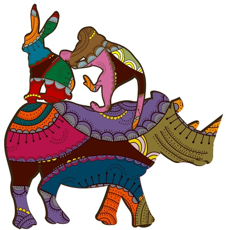 Circus fun at the back of a rhinoceros in the ethnic style Vector