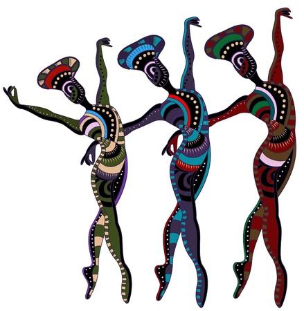 danza africana: ballerini in stile etnico ballare una danza bellissima Vettoriali