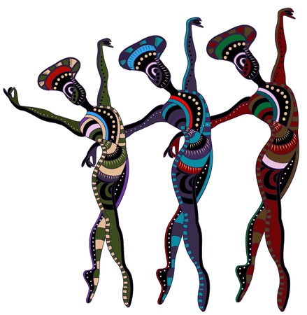 dancers in ethnic style dance a beautiful dance Vector