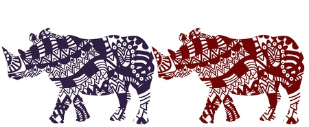 African rhinos on a white background in ethnic style Stock Vector - 11675065