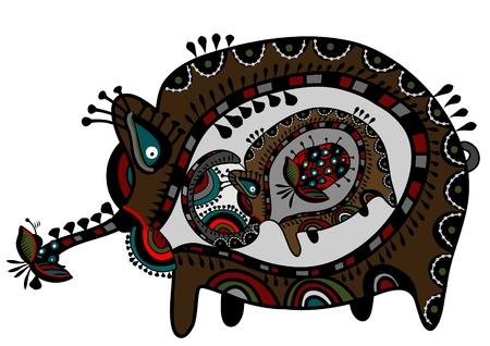 ethnics: little elephant lives inside the mother elephant in ethnic style Illustration