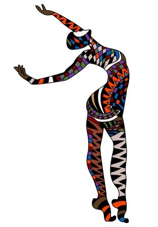 carnival girl: Hombre bailando en el estilo de la vendimia en un fondo blanco
