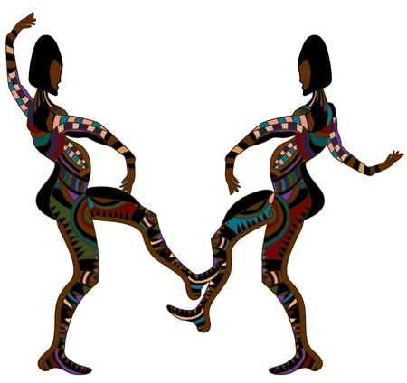 teatro antiguo: los hombres en el estilo �tnico de la danza sobre un fondo blanco