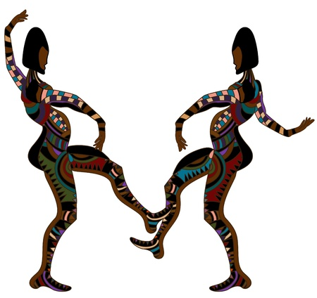 men in the ethnic style of dance on a white background Vector