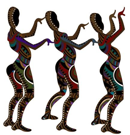 danza africana: gente che balla indigeni come loro danza religiosa Vettoriali