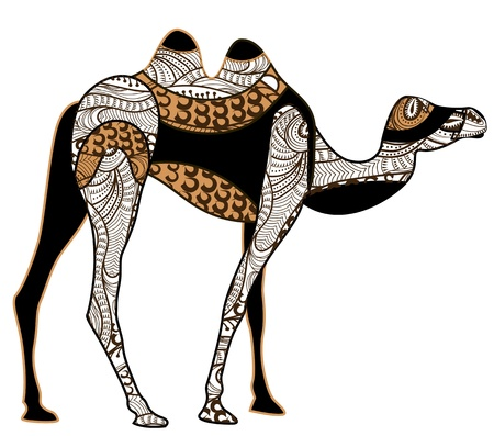 camel: camel of various elements in ethnic style Illustration