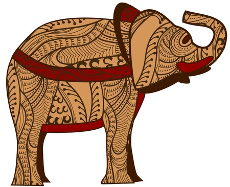 spotted: patterned elephant in the ethnic style with a white background