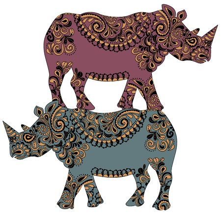 patterned rhinos are on the back of each other Vector