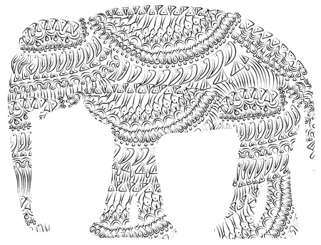 patterned elephant in vintage style on a white background Vector