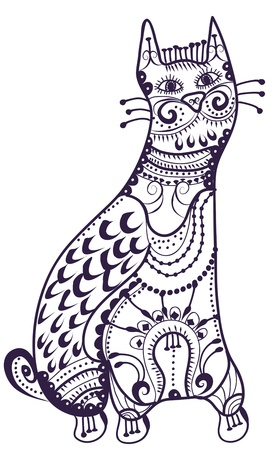 ethnics: Cat in a vintage-style on a white background Illustration