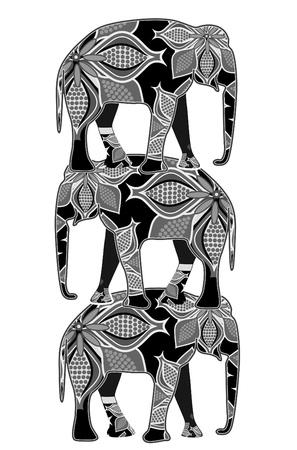 Los elefantes en el estilo étnico de pie sobre las espaldas de los demás Ilustración de vector