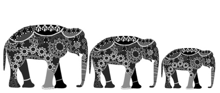 family of elephants in ethnic style with a white background (a very good symbol of good luck!) Vector