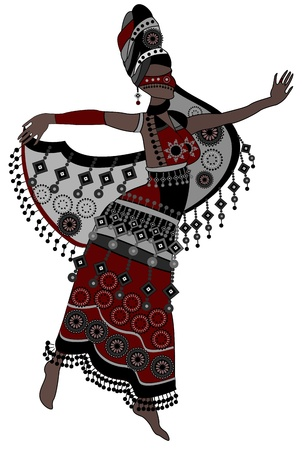 culture decoration celebration: Oriental woman in a beautiful dress dancing on a white background Illustration