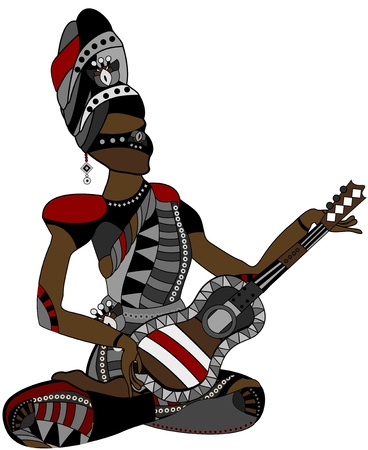 people in the ethnic style of sitting with a guitar in his hands Vector