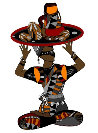 african culture: people in ethnic style with a white background