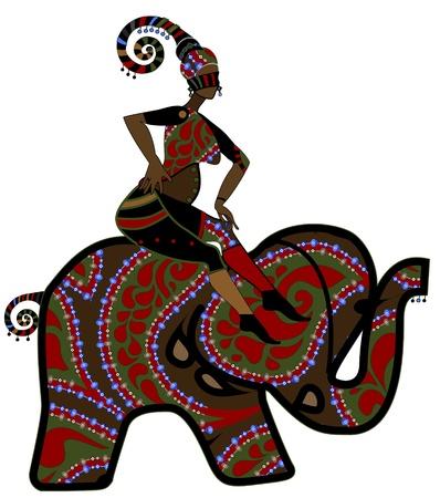 etnia: mujer se sienta sobre el lomo de un elefante en el estilo de la vendimia