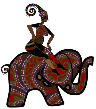african mask: woman sits on the back of an elephant in vintage style