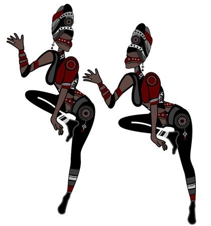 danza africana: Las mujeres en estilo étnico muestran danza religiosa