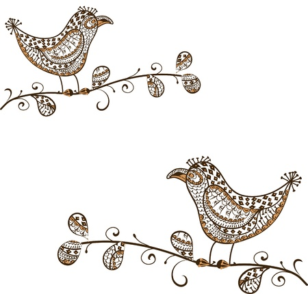 east indians: Birds sitting on a tree in vintage style
