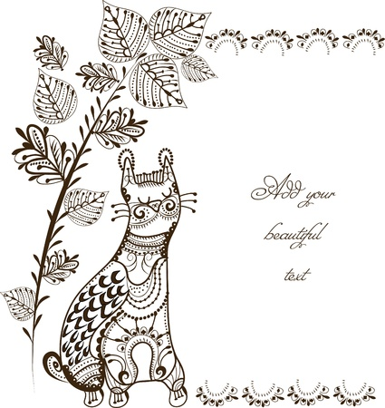 east indian: cat sleeps under a tree in vintage style