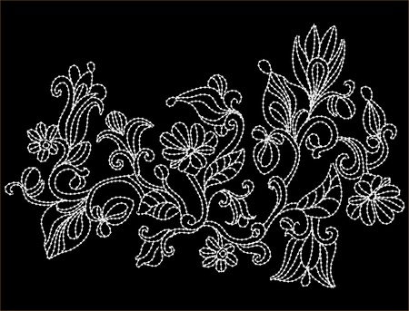 abstract background with flowers in the form of embroidery Vector