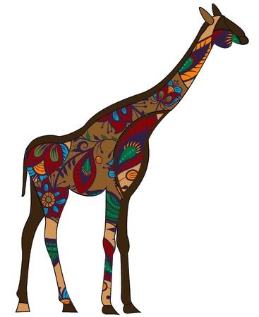 girafe dans un style ethnique avec un fond blanc