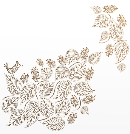 background of leaves with a little bird in a vintage style Vector
