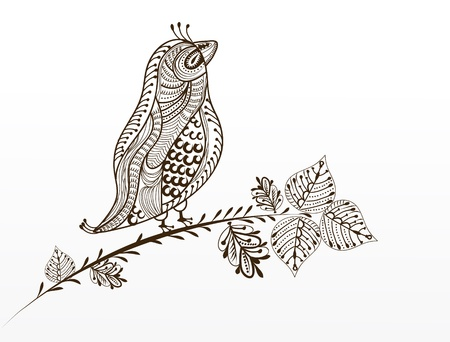 sparrows: beautiful bird in a vintage-style sitting on a tree branch