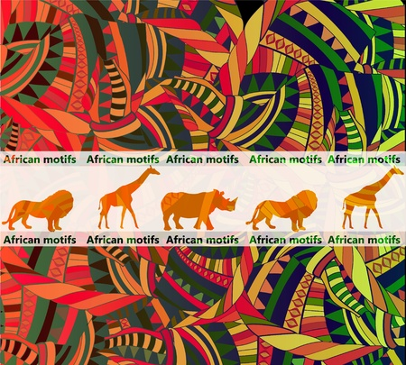 motifs: African ethnic background with traditional animal(eps.10)