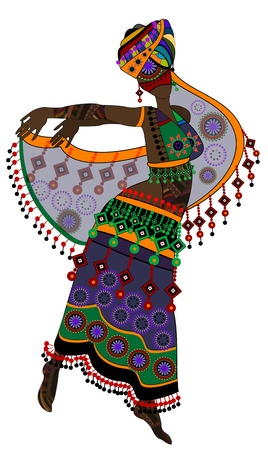 woman in ethnic style in a beautiful dress dancing a religious dance (eps.10) Vector