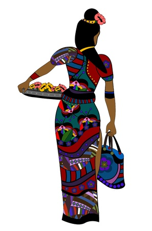 goes: woman in ethnic style goes about his business Illustration