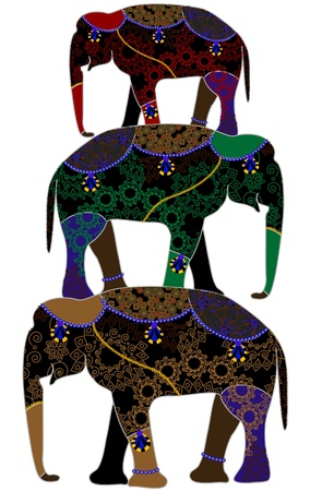 circus elephants in the ethnic style on a white background Vector