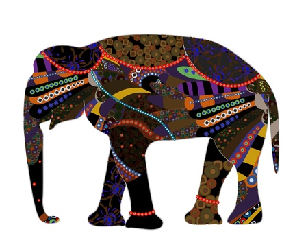 ancient elephant: patterned elephant in the ethnic style on a white background Illustration