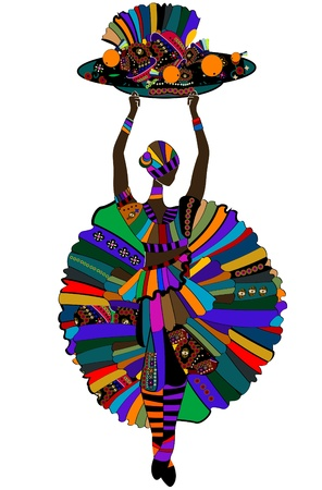 zulu: Woman in ethnic style is holding a festive feast Illustration