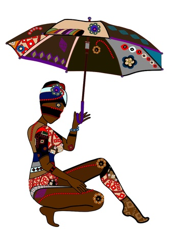 coquetry: Woman in ethnic style with an umbrella in his hand