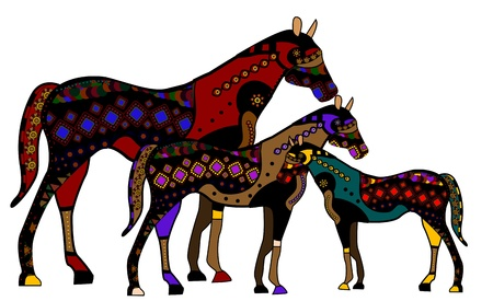 colt: Family of horses in ethnic style with a white background Illustration