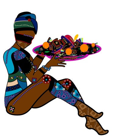 Woman in ethnic style with a delicious meal on a tray Vector