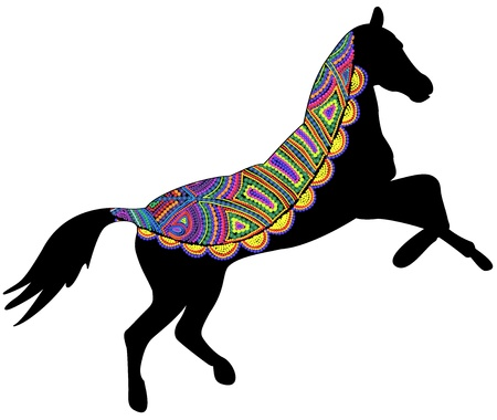 spotted: circus horse of different elements on a white background