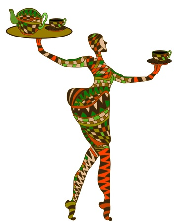 woman in the ethnic style of food in their hands Vector