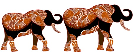 Los elefantes africanos en el estilo étnico de los diversos elementos sobre un fondo blanco