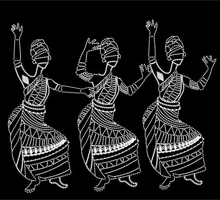 楽しんで: アフリカの女性は白い背景の上で踊って楽しく  イラスト・ベクター素材
