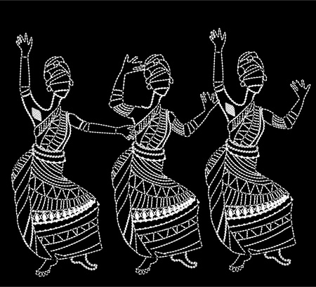 show folk: African women have fun dancing on a white background