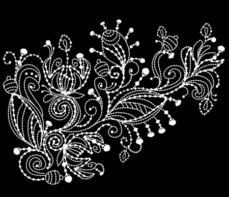 embroidery flower: floral pattern is embroidered with white thread on black background