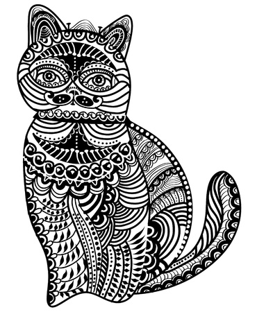 cat out of the various elements in a vintage style sits on a white background Vector